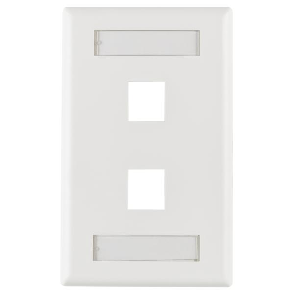 Single Gang 2 Port Faceplate With ID Windows, ABS 94V-0, White, 1/pkg