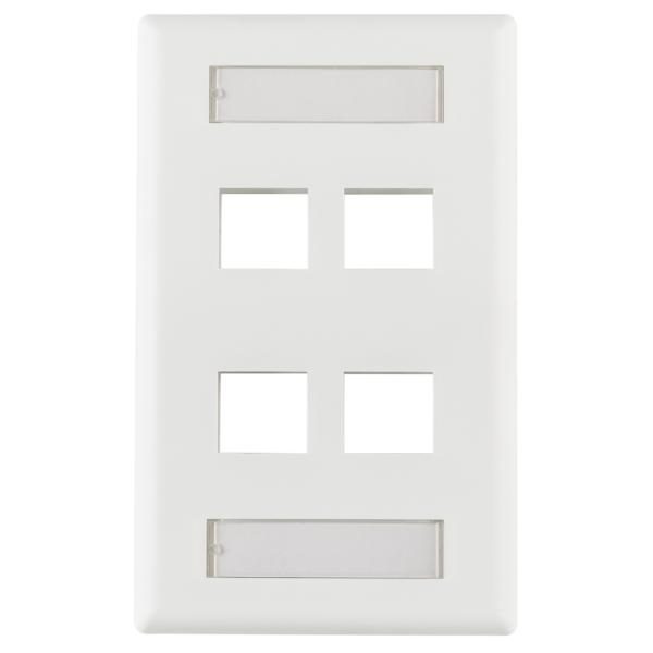 Horizontal 4 Port Faceplate With ID Windows, ABS 94V-0, White, 1/pkg
