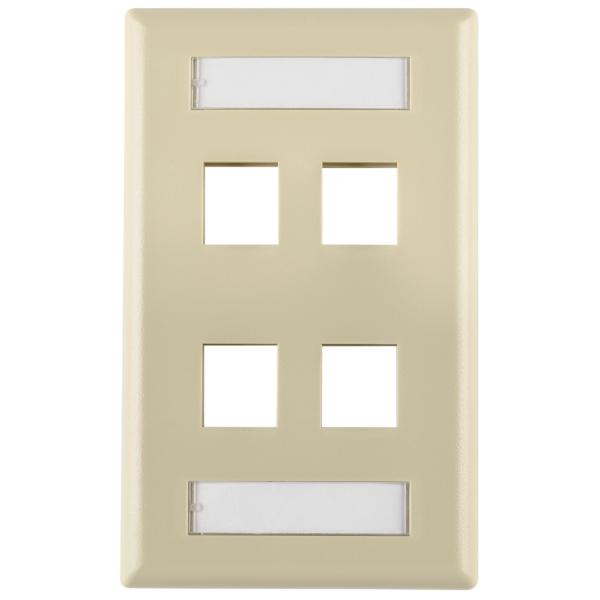 Single Gang 4 Port Faceplate With ID Windows, ABS 94V-0, Ivory, 1/pkg