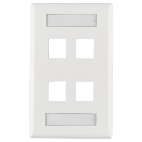 Single Gang 4 Port Faceplate With ID Windows, ABS 94V-0, White, 1/pkg