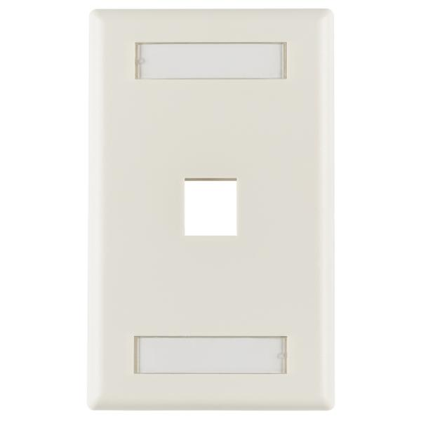 Single Gang 1 Port Faceplate With ID Windows, ABS 94V-0, Office White, 1/pkg