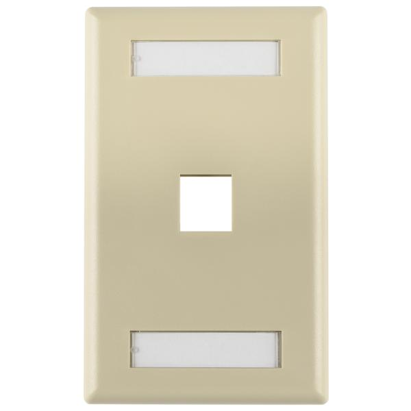 Single Gang 1 Port Faceplate With ID Windows, ABS 94V-0, Ivory, 1/pkg