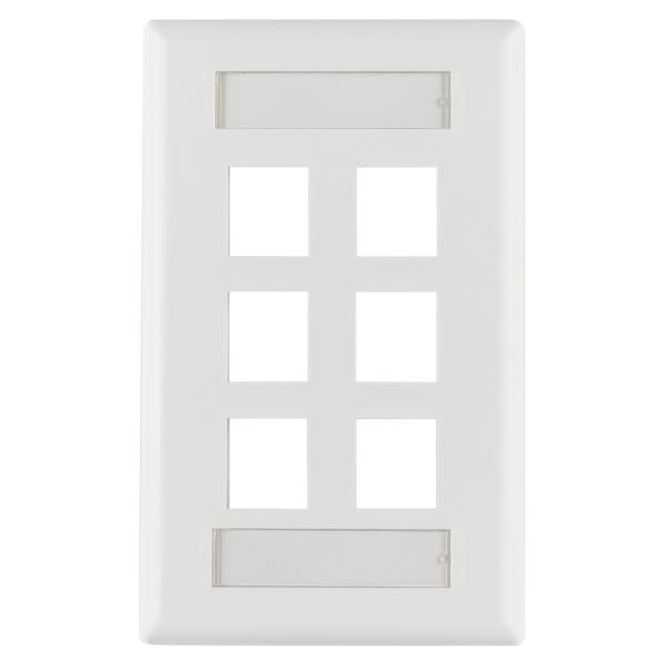 Single Gang 6 Port Faceplate With ID Windows, ABS 94V-0, White, 1/pkg