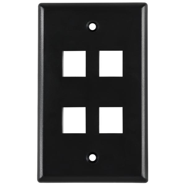 Standard Single Gang 4 Port Faceplate, ABS 94V-0, Black, 1/pkg