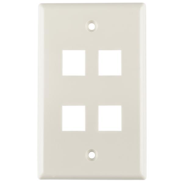 Standard Single Gang 4 Port Faceplate, ABS 94V-0, Office White, 1/pkg