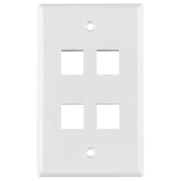Standard Single Gang 4 Port Faceplate, ABS 94V-0, White, 1/pkg