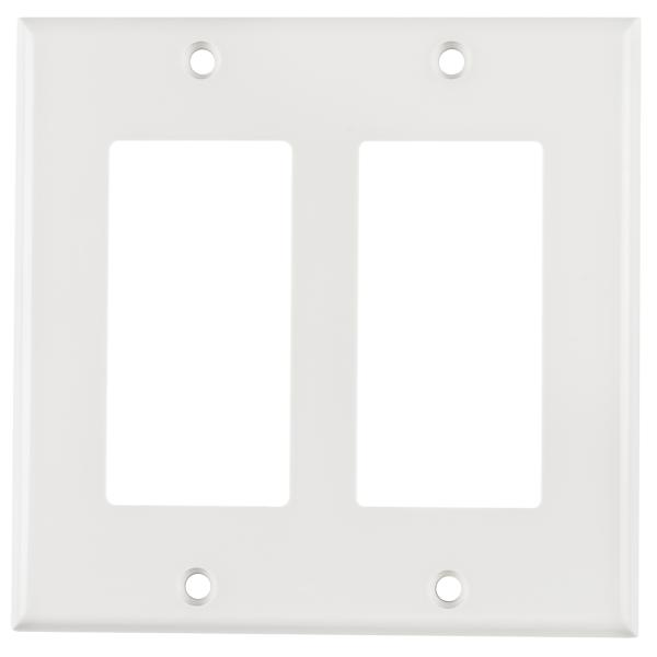 Dual Gang Rectangular Decorator Faceplate, ABS 94V-0, White, 1/pkg