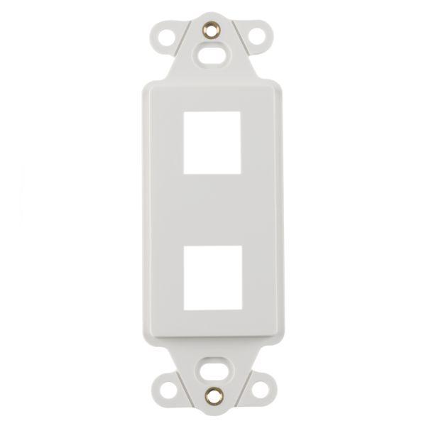 Rectangular Decorator 2 Port Mounting Frame, ABS 94V-0, White, 1/pkg