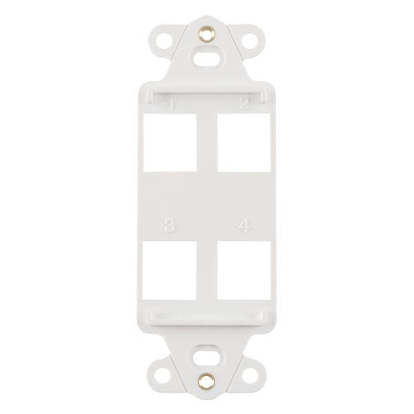 Rectangular Decorator 4 Port Mounting Frame, ABS 94V-0, White, 1/pkg