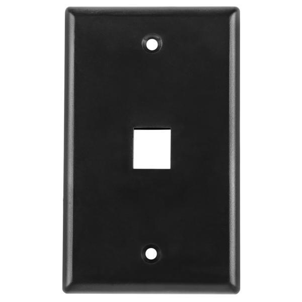 Standard Single Gang 1 Port Faceplate, ABS 94V-0, Black, 1/pkg