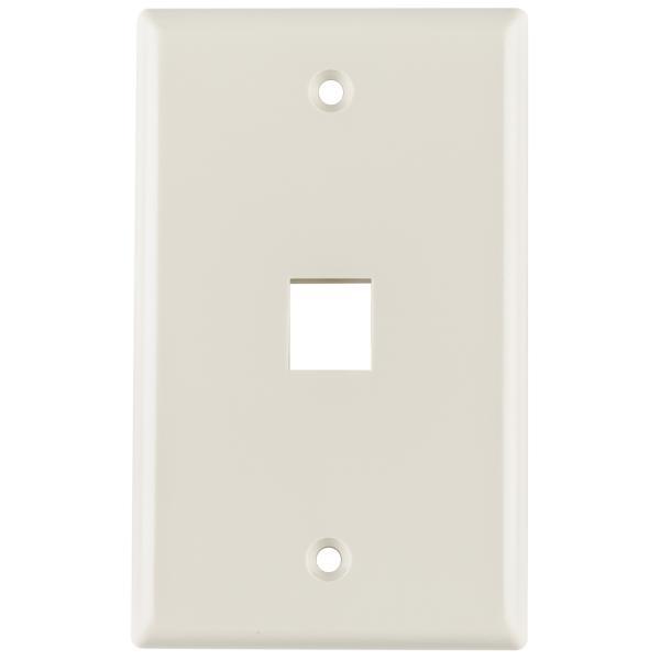 Standard Single Gang 1 Port Faceplate, ABS 94V-0, Office White, 1/pkg