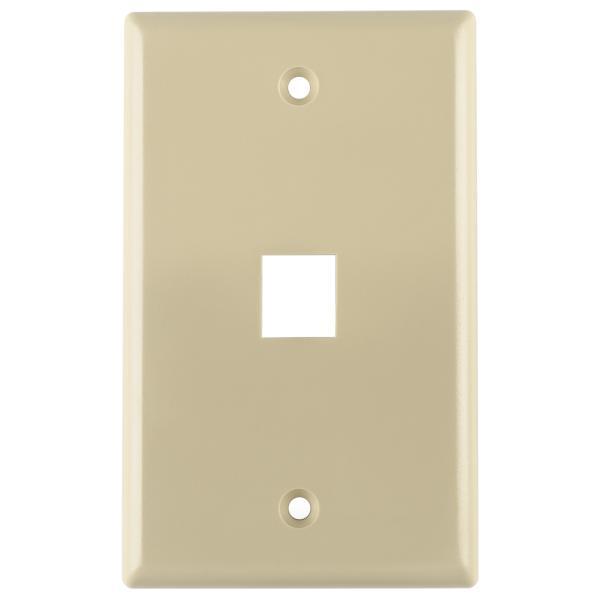 Standard Single Gang 1 Port Faceplate, ABS 94V-0, Ivory, 1/pkg
