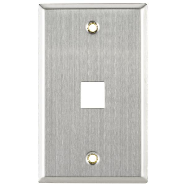 Flush Mount Faceplate 1 Port, Stainless Steel,1/pkg