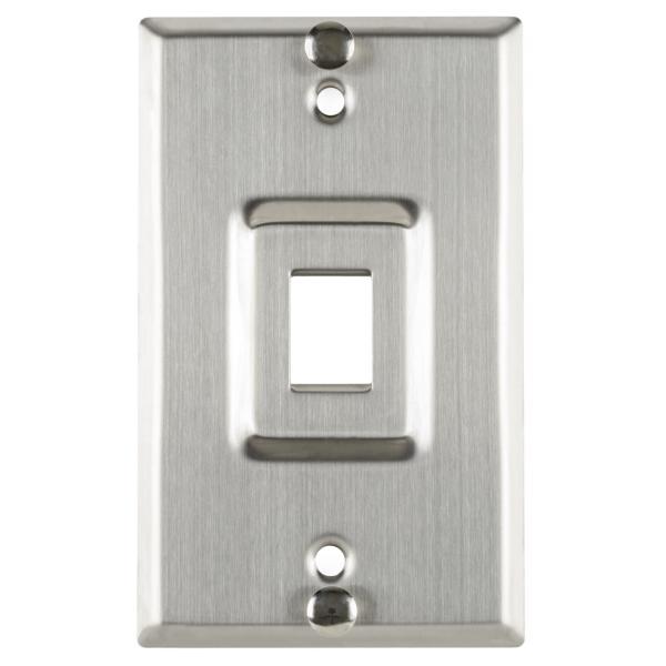 Flush Mount Phone Faceplate 1 Port, Stainless Steel,1/pkg