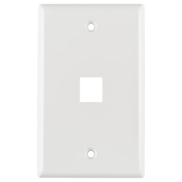 Standard Single Gang 1 Port Faceplate, ABS 94V-0, White, 1/pkg