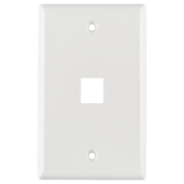 Standard Single Gang 1 Port Faceplate, ABS 94V-0, White, 1/pkg