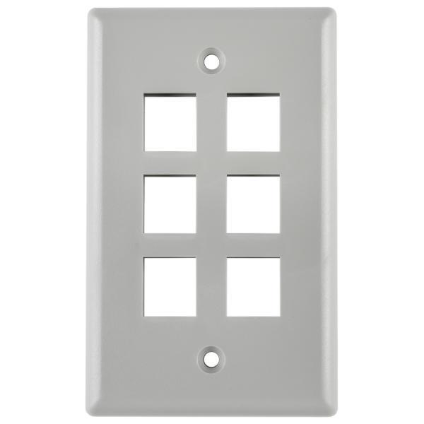 Standard Single Gang 6 Port Faceplate, ABS 94V-0, Gray, 1/pkg