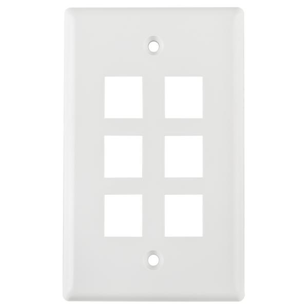 Standard Single Gang 6 Port Faceplate, ABS 94V-0, White, 1/pkg