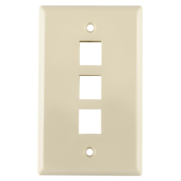Standard Single Gang 3 Port Faceplate, ABS 94V-0, Ivory, 1/pkg
