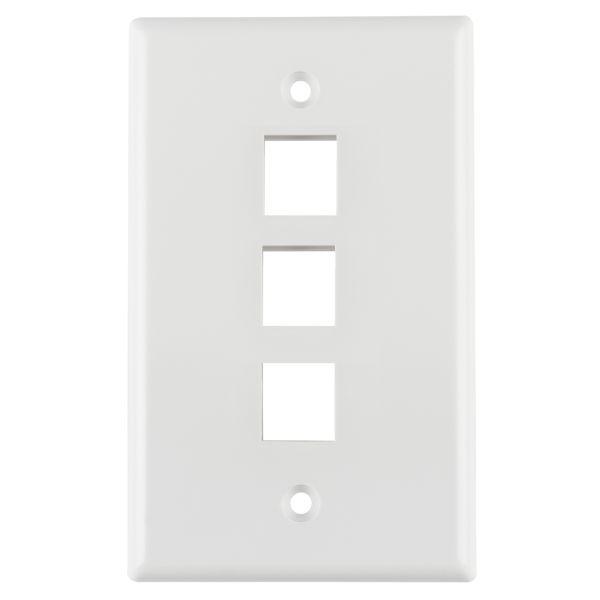 Standard Single Gang 3 Port Faceplate, ABS 94V-0, White, 1/pkg