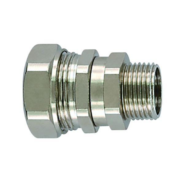 Metallic Compression Fitting, Straight Swivel, M20 Metric Thread, 3/8