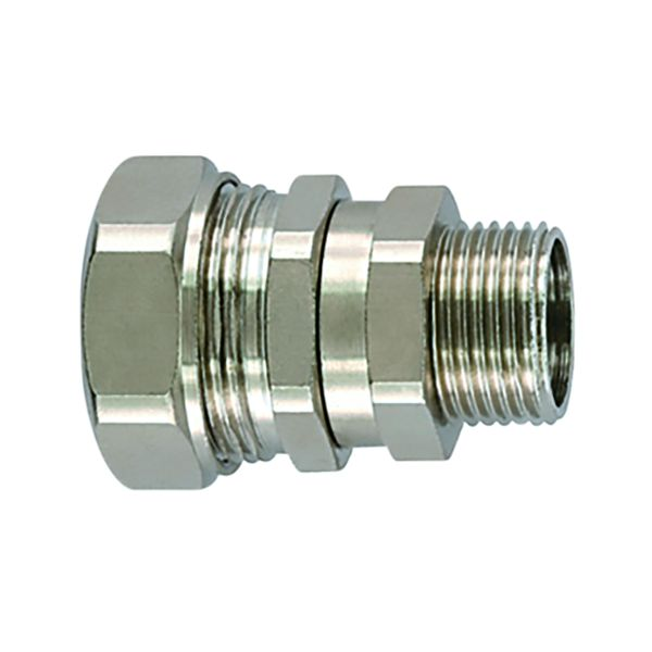 Metallic Compression Fitting, Straight Swivel, M20 Metric Thread, 1/2