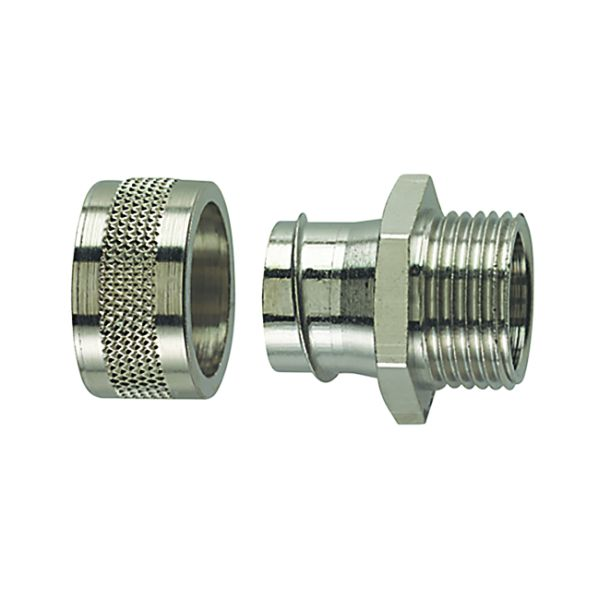 Metallic Compression Fitting, Fixed Straight, M25 Metric Thread, 3/4