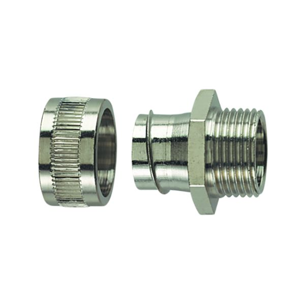 Metallic Compression Fitting, Fixed Straight, M20 Metric Thread, 3/8