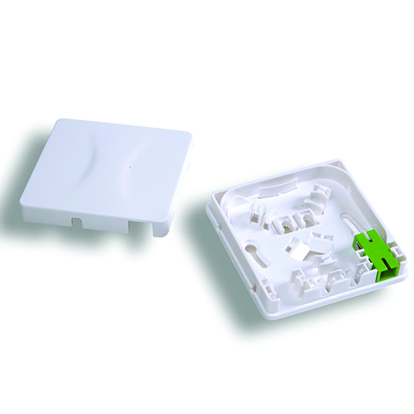 Fiber Wall Outlet, SC-APC Simplex, With Adapter in Right Port, ABS, White