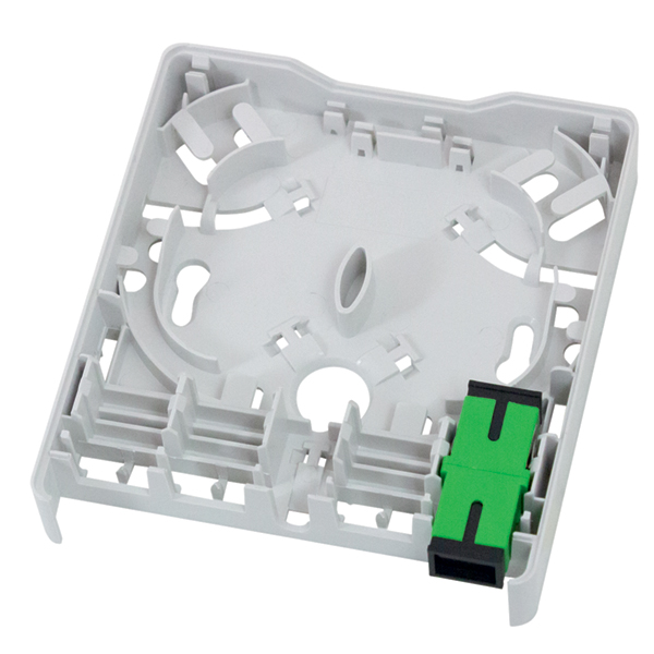 Fiber Wall Outlet, SC-APC Simplex, With One SM Green SC Adapter, ABS, White, 1/pkg