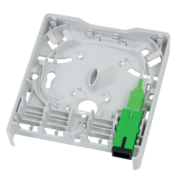 Fiber Wall Outlet, SC-APC Simplex, With Adapter and 900µm Buffered 1 m Pigtail in Right Port, ABS, White, 1/Pkg