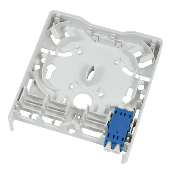 Fiber Wall Outlet, LC Duplex, With One SM Blue Adapter, ABS, White, 1/Pkg