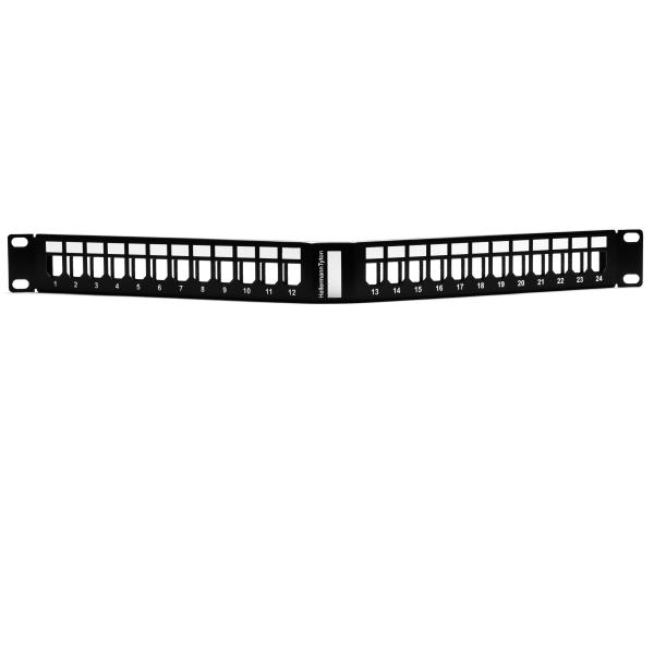 GST Angled Modular Patch Panel 24 Port, 1U, Steel, Black, 1/box