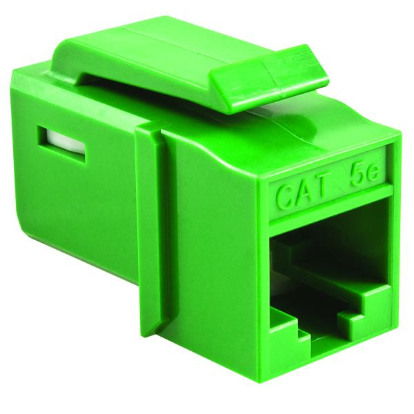 GST Category 5e UTP Modular Keystone Jack, Green, 1/bag