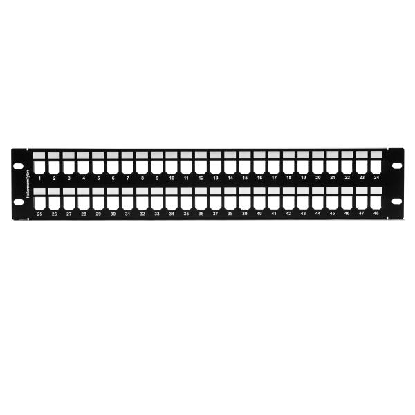 GST Modular Patch Panel 48 Port, 2U, Steel, Black, 1/box