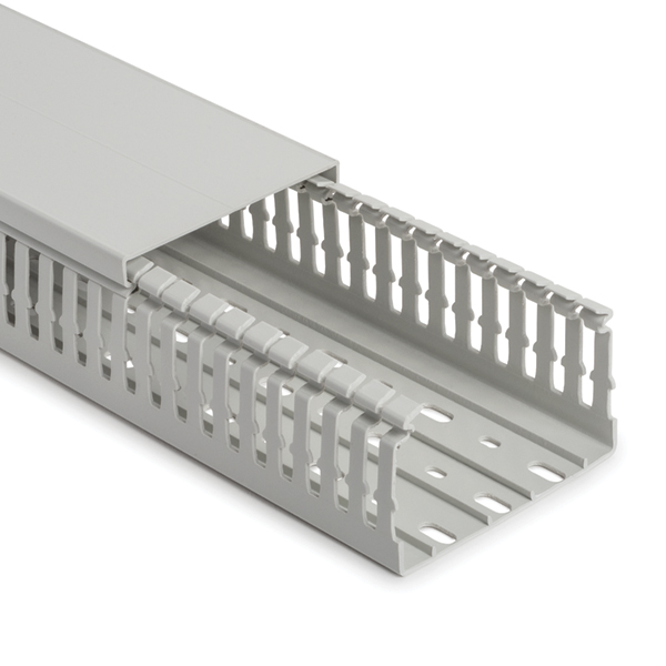 Halogen Free Slotted Wiring Duct & Cover, w/o Adhesive, 25mm x 60mm, PC/ABS, Gray, 60 m/Box