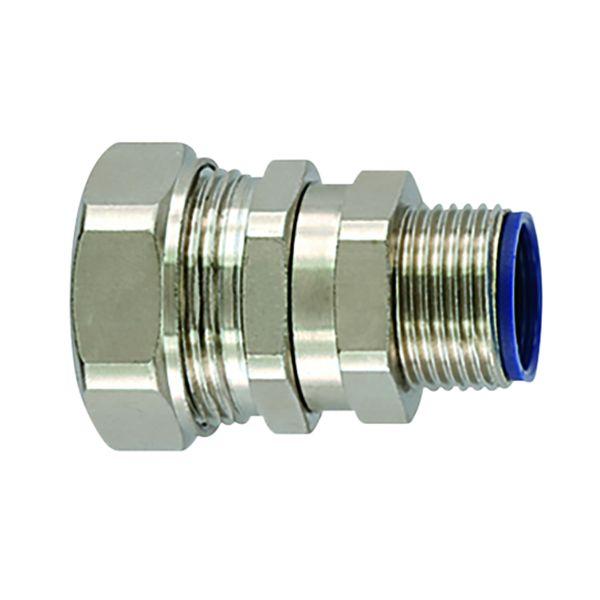 Liquid-Tight Metallic Comp Swivel Ftg, Flexible, Straight, M16 Metric Thread, 0.38