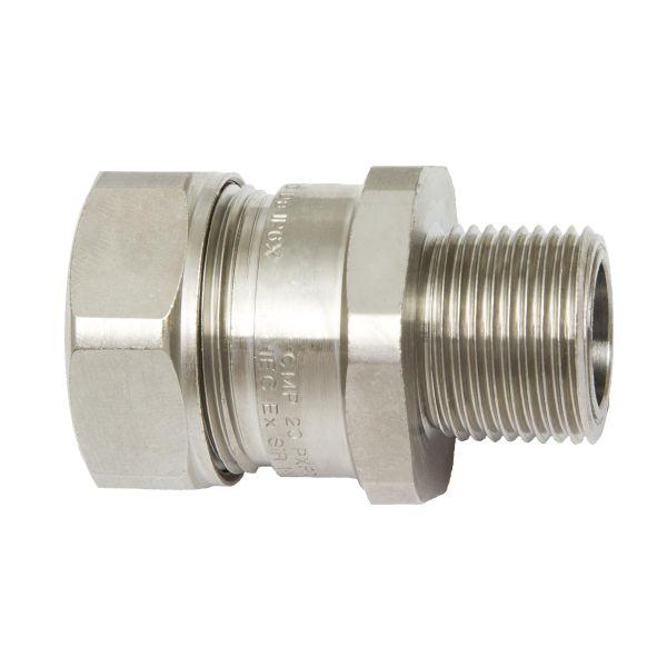 Hazardous Area Liquid-Tight Flexible Metallic Comp Fitting, Straight, M20 Metric Thread, 0.38