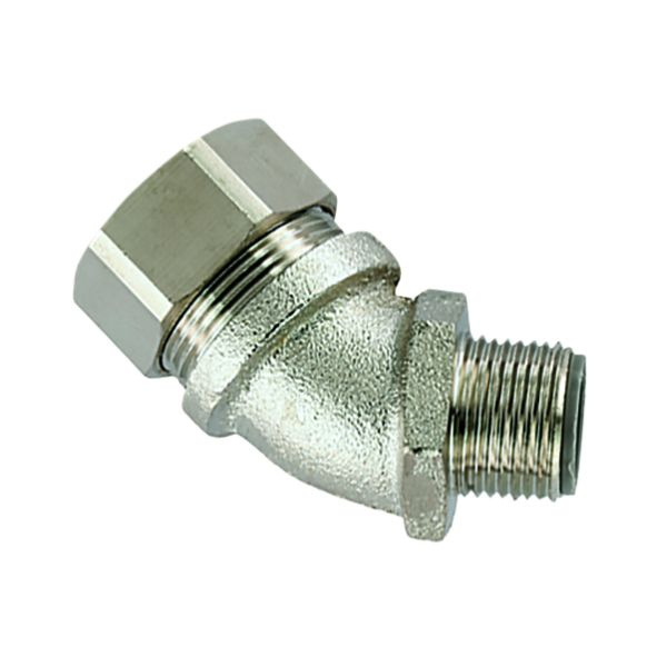 Liquid-Tight Metallic Comp Fitting, Flexible, Ins Throat, 45-Elbow, Fixed M25 Metric Thread, 0.75