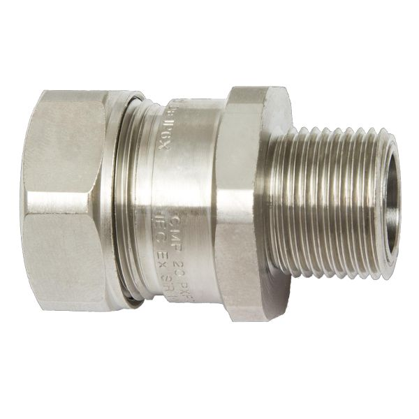 Hazardous Area Liquid-Tight Flexible Metallic Comp Fitting, Insulated Throat, Straight, M32 Metric Thread, 1.0