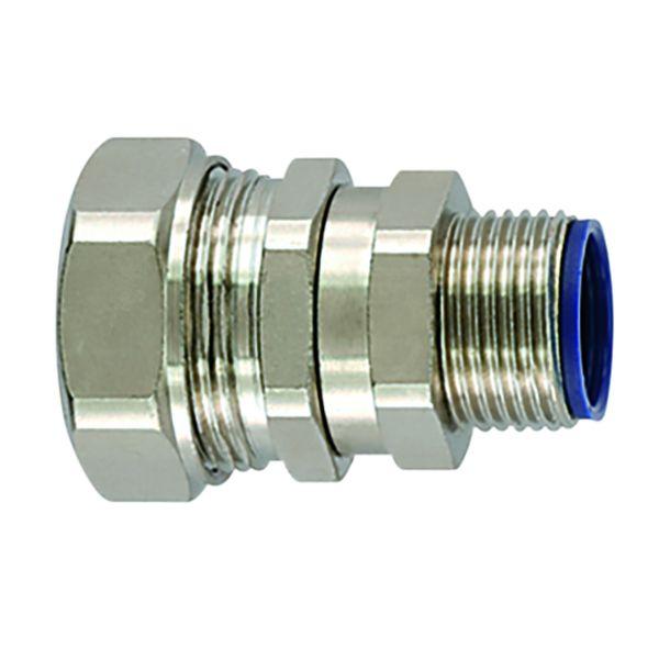 Liquid-Tight Metallic Comp Swivel Ftg, Flexible, Straight, M32 Metric Thread, 1.0
