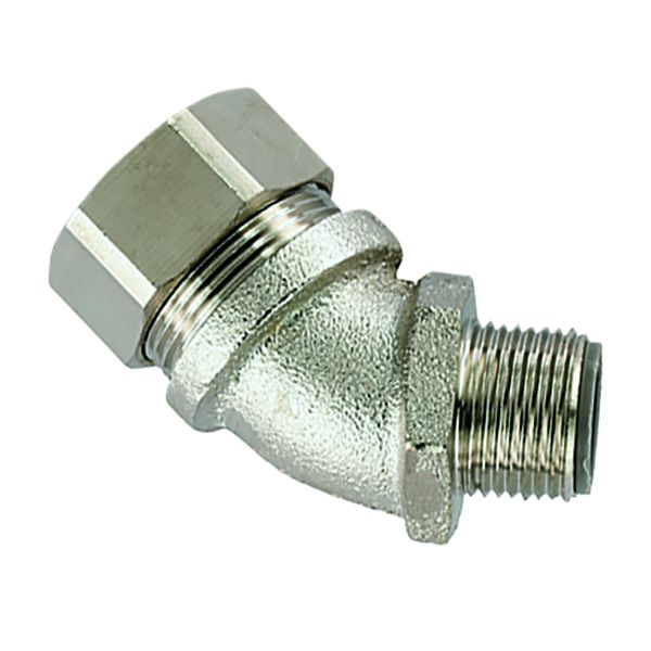 Liquid-Tight Metallic Comp Fitting, Flexible, Ins Throat, 45-Elbow, Fixed M50 Metric Thread, 1.5