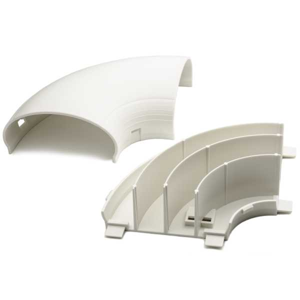 InfoStream Multi-Channel Raceway Flat Elbow, PVC, Office White, 1/pkg