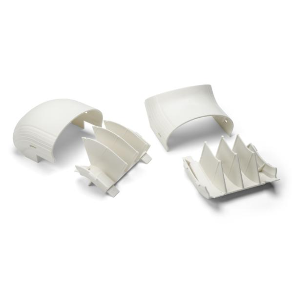 InfoStream Multi-Channel Raceway Offset Elbow, PVC, Office White, 1/pkg