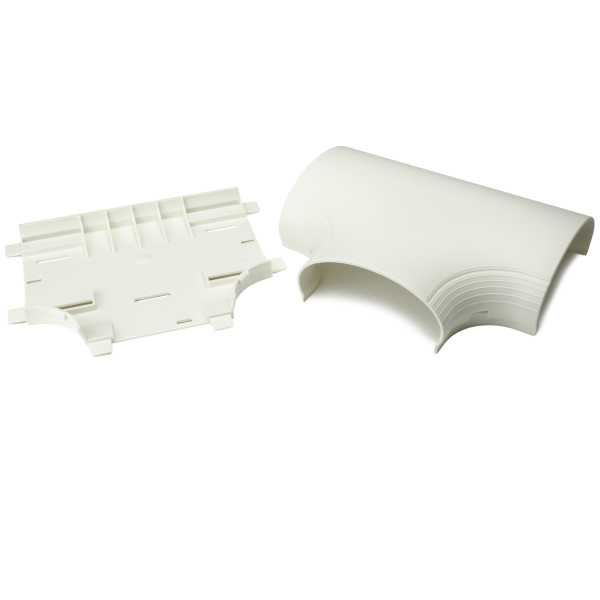 InfoStream Multi-Channel Raceway Tee Fitting, PVC, Office White, 1/pkg