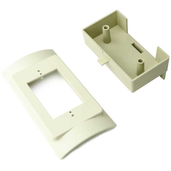 InfoStream Multi-Channel Raceway Raised Electrical Box, PVC, Ivory, 1/pkg