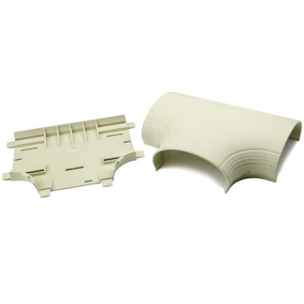 InfoStream Multi-Channel Raceway Tee Fitting, PVC, Ivory, 1/pkg