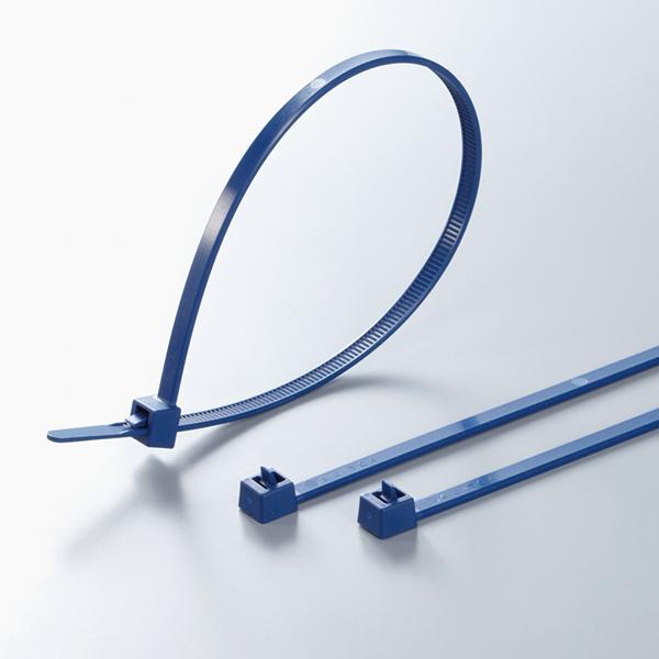 Metal Content Tie, 9.8 Long, 50lb Tensile Strength, PA66MP, Blue, 100/pkg