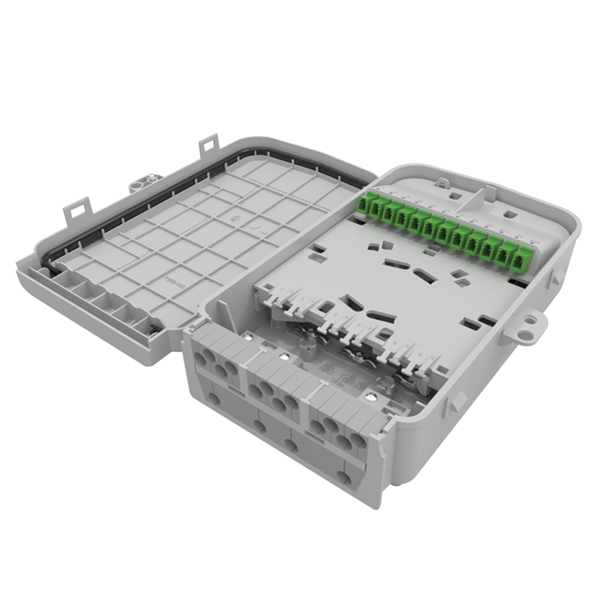 S1, 12-Port with LC/APC SX SM Green Adapters and 12 Pigtails, 16mm Feeder, PC, Gray, 1/pkg