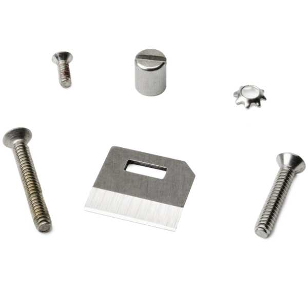 Service Kit for the MK9 tool. Includes replacement blade, screw for nosepiece, and instruction card